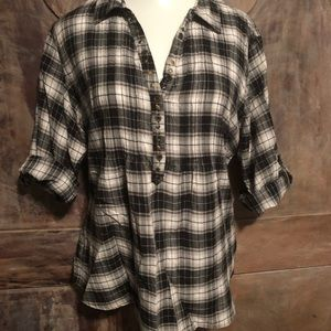 Maurices pull over plaid blouse